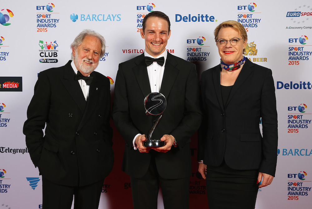 Eddie Izzard presents the The Leadership in Sport Award, Sponsored by Nolan Partners to Lord Puttnam, UNICEF ambassador and David Grevemberg, CEO of Glasgow 2014