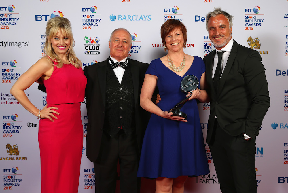 Presenters David Ginola (R) and Kimberly Wyatt (L) pose with the winners of The Best Live Experience, sponsored by Eurosport for the Invictus Games 2014