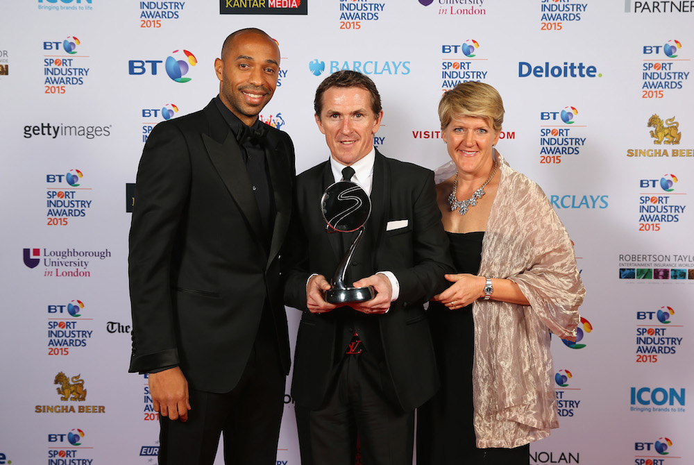 Clare Balding and Thierry Henry pose with AP McCoy, winner of the Outstanding Contribution to Sport, sponsored by CWM Cyclone Promotions