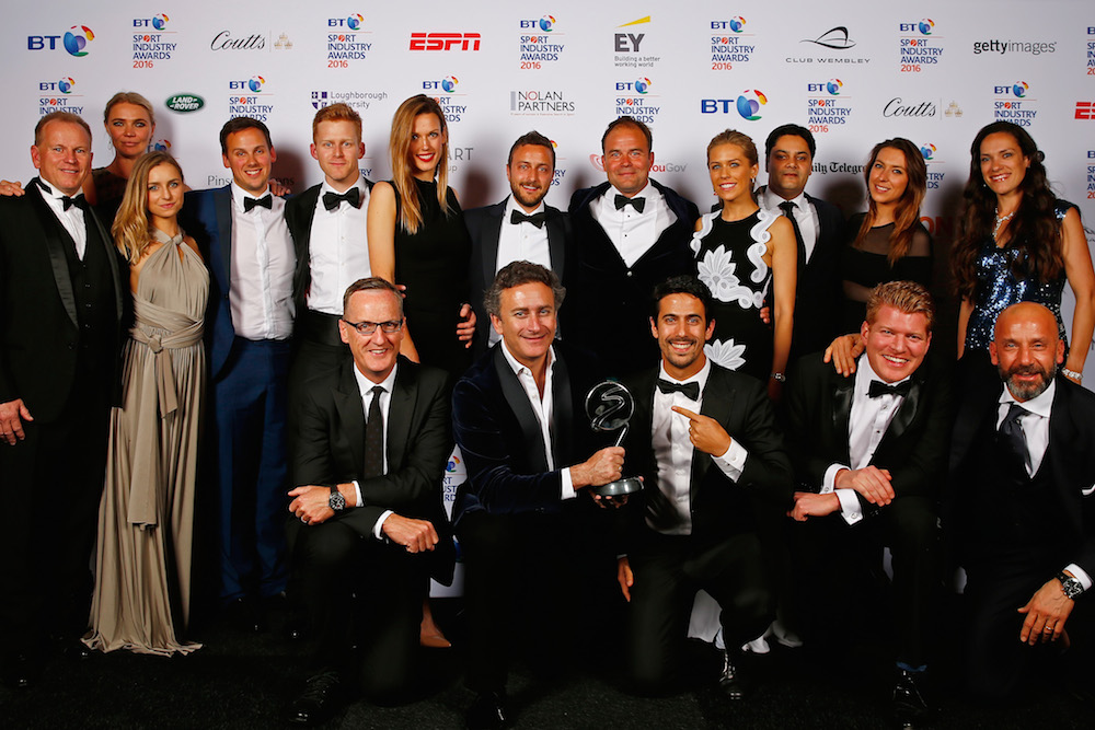 Jodie Kidd and Gianluca Vialli present the Cutting Edge Sport award in association with Loughborough University to FIA Formula E Championship