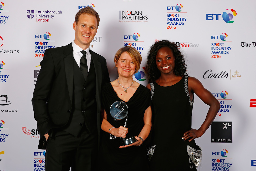 Eniola Aluko and Dan Walker present the Leadership in Sport Award in association with Nolan Partners to Kelly Simmons