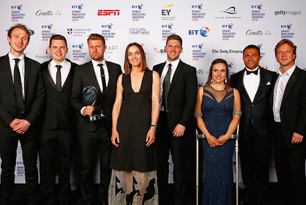 Jason Robinson and Jade Jones with Victoria Pendleton present the Best Use of PR in association with Getty Images