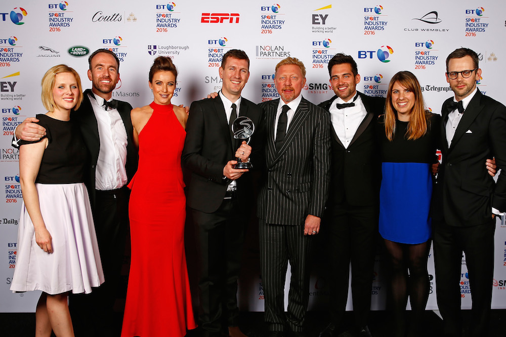 Boris Becker and Charlie Webster present the Best Sponsorship of a team or individual to O2 England Rugby Wear the Rose